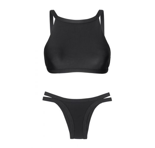 Crop top-bikini, sort med kanter i relieff - PRETO CROPPED