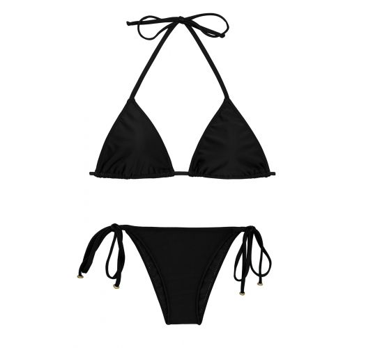 Black side-tie Brazilian bikini with sliding top - PRETO LACINHO