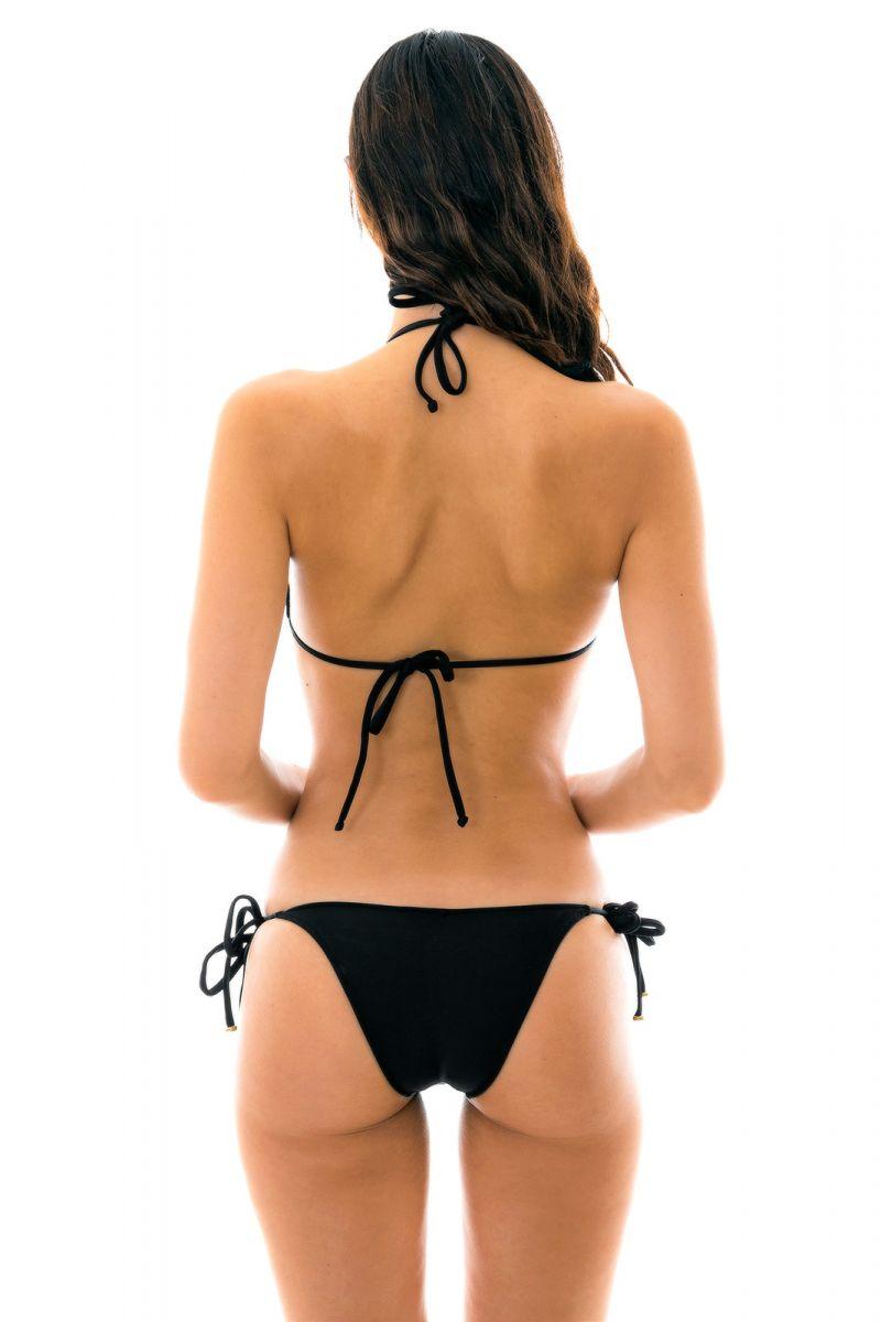 Svart, smyckad knytbar bikini - PRETO LACINHO