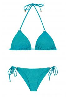 Triangle bikini in blue lurex with ring detail - RADIANTE AZUL ARG TRI