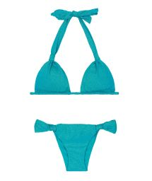 Triangle scarf bikini in shiny blue lurex - RADIANTE AZUL CORTINAO