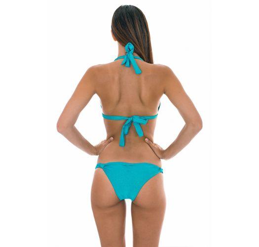 Triangle scarf bikini in shiny blue lurex - RADIANTE AZUL CORTINAO