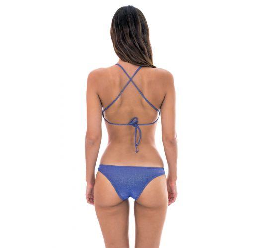 Mörkblå bikini med crop topp med korsade band - RADIANTE AZUL MARINHO CROPPED