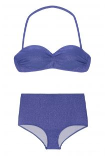High-waisted bikini in shiny dark blue lurex - RADIANTE AZUL MARINHO HOT PANT