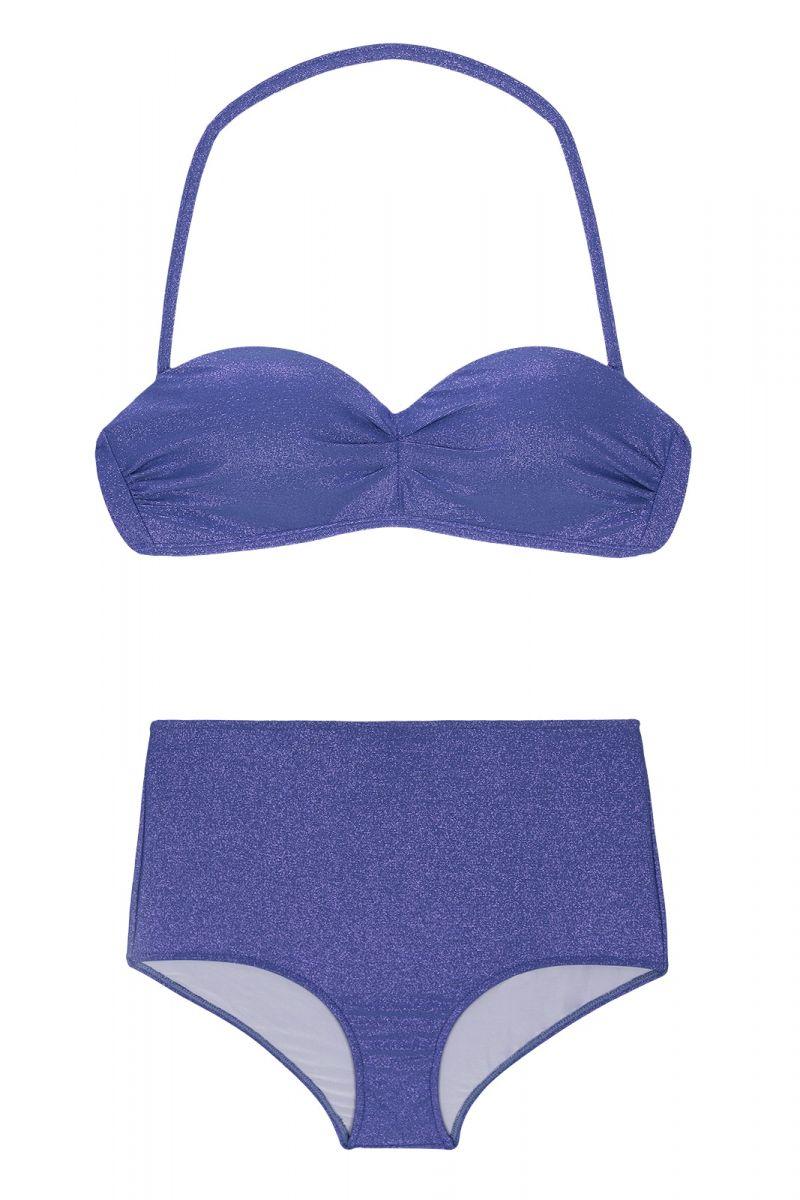 High-waisted bikini in shiny dark blue lurex - RADIANTE AZUL MARINHO HOT PANT