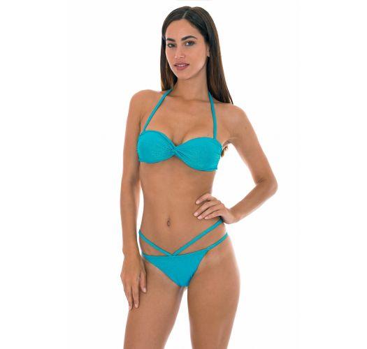 Bandeau bikini i blåt lurex med snoet detalje og pyntestropper på underdelen - RADIANTE AZUL TOMARA QUE CAIA