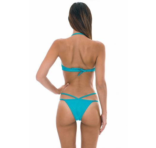 Blue lurex bikini with twisted bandeau top and strappy bottoms - RADIANTE AZUL TOMARA QUE CAIA