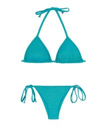 Brazilian bikini in shiny blue lurex - RADIANTE AZUL TRI