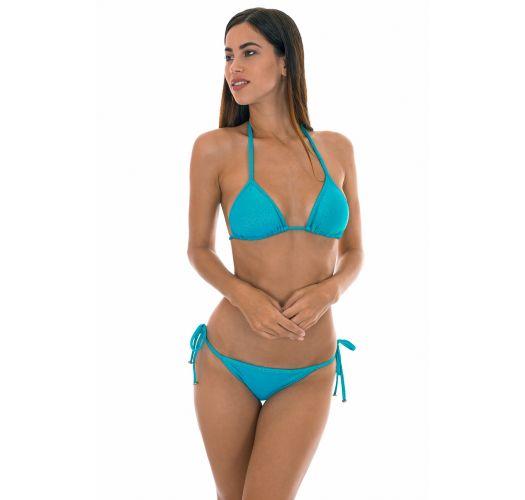 Brasiliansk bikini, blå skinnende lurex - RADIANTE AZUL TRI