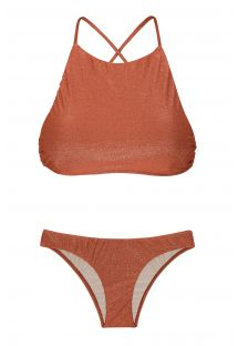Racerback crop top bikini in copper lurex - RADIANTE CANELA CROPPED