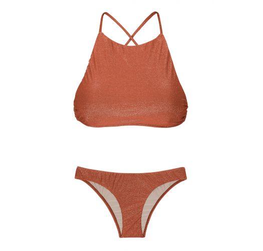 Çapraz sırtlı, bakır rengi lüreks crop top bikini - RADIANTE CANELA CROPPED