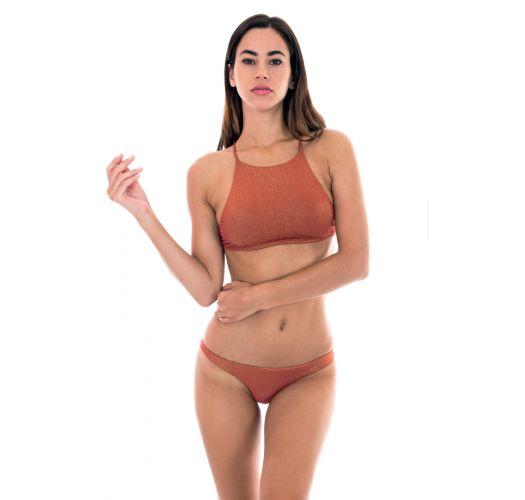 Miedziane bikini typu crop top, figi z wysokim stanem - RADIANTE CANELA CROPPED