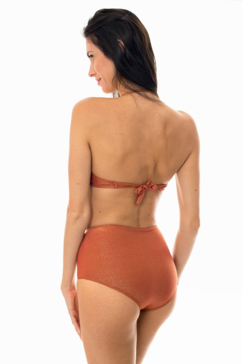 High-waisted bikini in copper lurex with bandeau top - RADIANTE CANELA HOT PANT