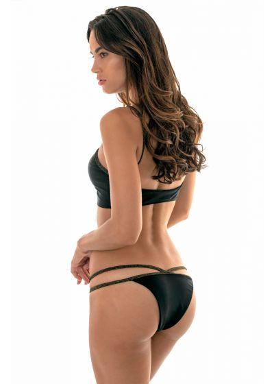 Svart crop topp-bikini med ytterkanter i lurex - RADIANTE CROPPED NECK