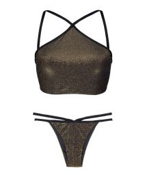 Black lurex crop top bikini, with strappy bottom - RADIANTE CROPPED STRAPPY