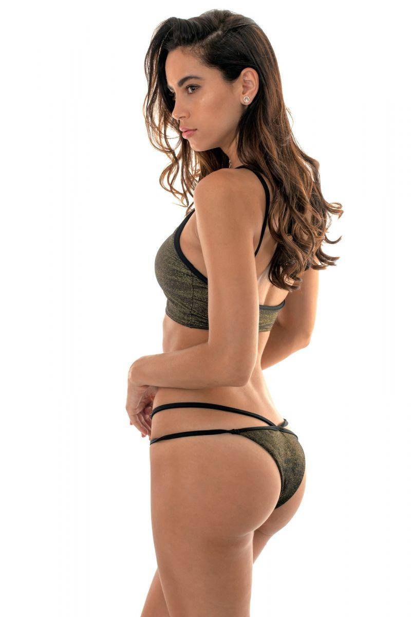 Black lurex crop top bikini, with strappy bottom - RADIANTE CROPPED STRAPPY