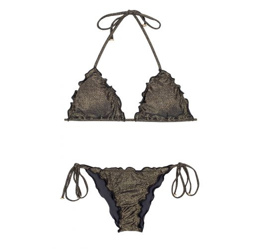 Black lurex string bikini with scalloped edges - RADIANTE PRETO FRUFRU
