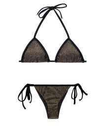 Shimmery black lurex brazilian bikini with black ties - RADIANTE PRETO TRI