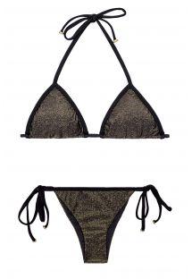 Bikini brasiliano lurex brillante,lacci neri - RADIANTE PRETO TRI