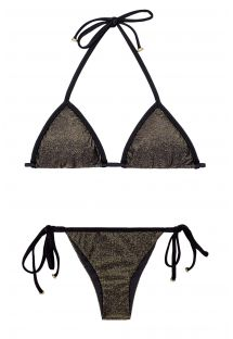 Zwarte glanzende lurex bikini met bandjes - RADIANTE PRETO TRI