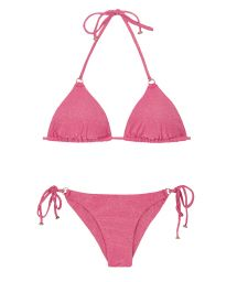 Triangle bikini in pink lurex with ring details - RADIANTE ROSA ARG TRI