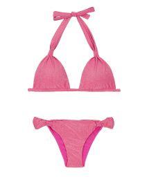 Triangle scarf bikini in shiny pink lurex - RADIANTE ROSA CORTINAO