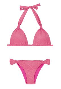 Bikini triangle foulard rose lurex brillant - RADIANTE ROSA CORTINAO