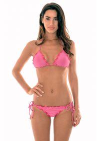 Pink lurex scrunch bikini with scallop trim - RADIANTE ROSA FRUFRU
