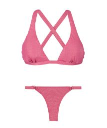Pink lurex thong bikini bottom and triangle halterneck top - RADIANTE ROSA SPORTY MINI