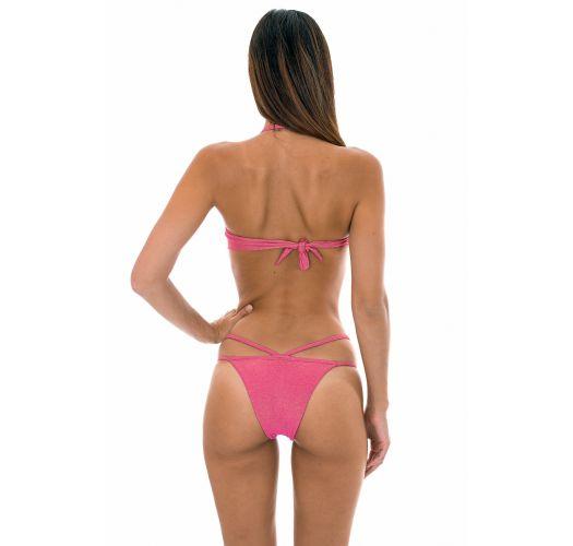 Pink lurex bandeau bikini with twist effect - RADIANTE ROSA TOMARA QUE CAIA