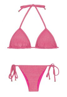 Shiny pink lurex Brazilian swimsuit - RADIANTE ROSA TRI