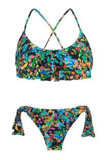 Ruffled bra top bikini in a black floral print - REALITY FLOWER BABADO
