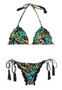 Bikini braguita scrunch negro/flores de color - REALITY FLOWER FRUFRU