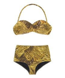 Hög bikini i retrostil med gyllene tryck - RELUZENTE TOMARA QUE CAIA