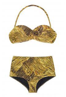 レトロスタイルのゴールド色の柄入りハイウエストビキニ�- RELUZENTE TOMARA QUE CAIA