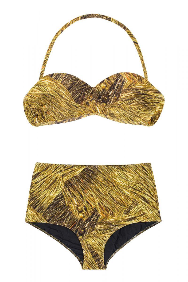 Golden print retro-style high-waisted bikini - RELUZENTE TOMARA QUE CAIA