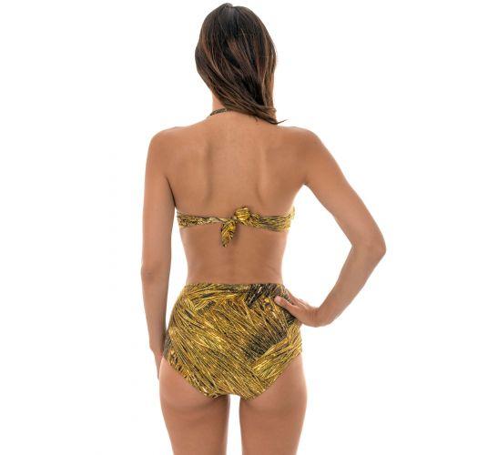 Goldgemusterter hochtaillierter Retro-Bikini - RELUZENTE TOMARA QUE CAIA