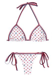 White string bikini with hearts and anchors - ROMANCE