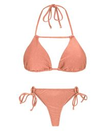 Peach-pink side-tie string bikini - ROSE DETAIL