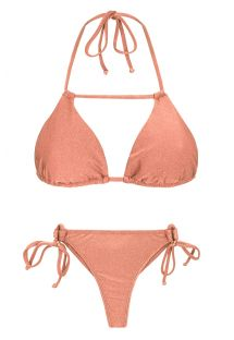 Bikini string rose pêche irisé et triangle - ROSE DETAIL