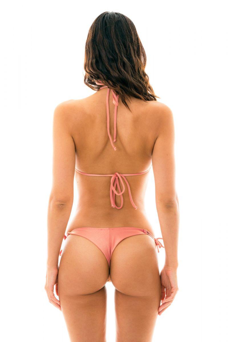Peach-pink side-tie string bikini - ROSE DETAIL