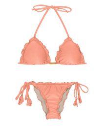 Brasilianischer Scrunch Bikini mit Pompons in pfirsichrosa - ROSE FRUFRU