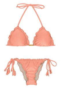 Ferskenfarvet brasiliansk scrunch bikini med pomponer - ROSE FRUFRU