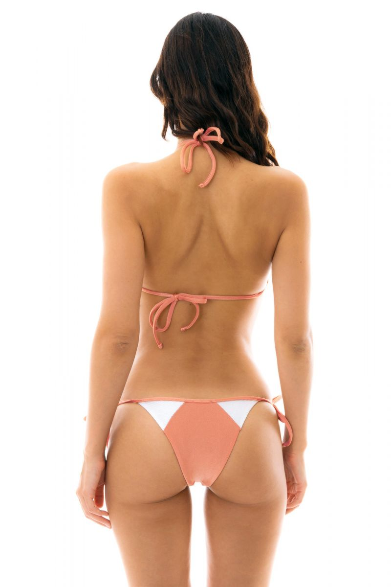 Peach and white textured triangle side-tie bikini - ROSE RECORTE TRI