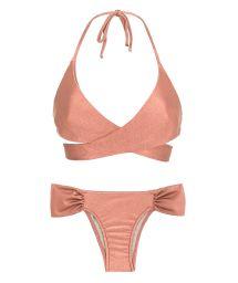 Pfirsich-pinker Bikini mit Wickel-Oberteil - ROSE TRANSPASSADO