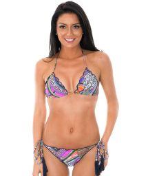 Multicoloured fringed bikini with tassels - SAMARCANDA FRUFRU