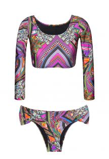Long-sleeved crop top bikini with surf spirit - SAMARCANDA HELLO