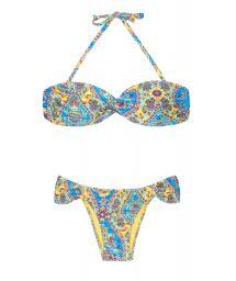 Bandeau bikini with vintage-style print - SARI BANDEAU