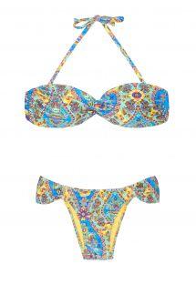Retro stili renkli desenli bandeau bikini - SARI BANDEAU