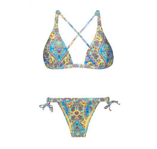 Halter neck triangle bikini with printed cross back - SARI COOL LACINHO